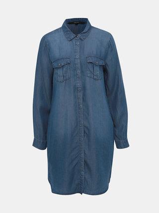 Modré košeľové rifľové šaty VERO MODA Silla