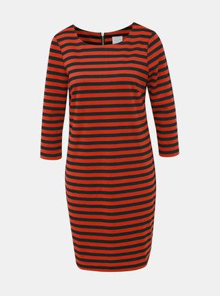 Čierno-červené pruhované basic šaty VILA Tinny