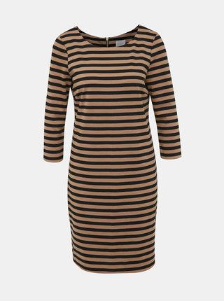 Čierno-hnedé pruhované basic šaty VILA Tinny