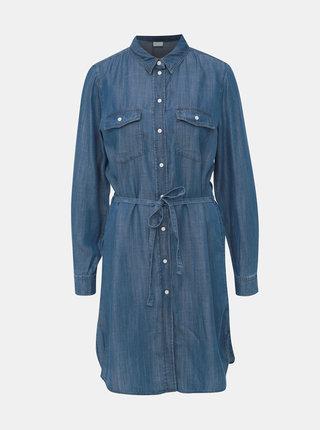 Modré rifľové košeľové šaty VILA Suster