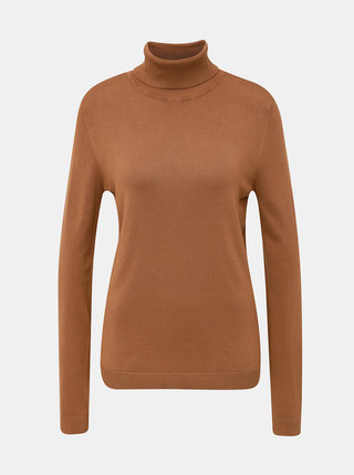 Hnedý basic sveter s rolákom VILA Bolonia