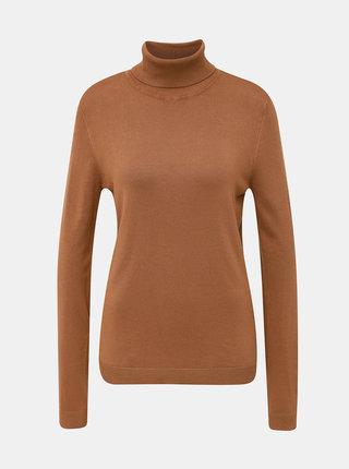 Hnědý basic svetr s rolákem VILA Bolonia