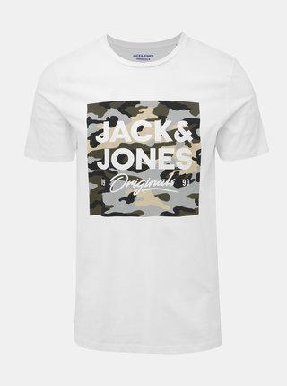 Bílé slim fit tričko s potiskem Jack & Jones Camoclub