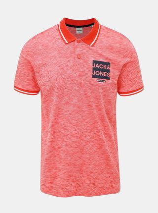 Červená žíhaná slim fit polokošeľa Jack & Jones CORE Foni