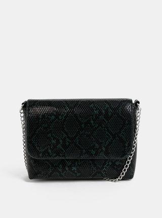 Čierno-zelená crossbody kabelka s hadím vzorom Pieces Irina
