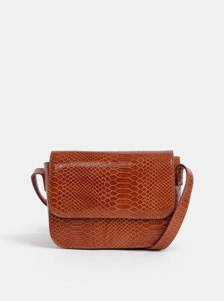 Hnedá crossbody kabelka s hadím vzorom Pieces Iman