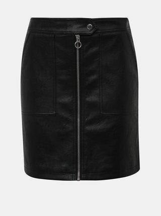 Černá koženková sukně ONLY Abigail