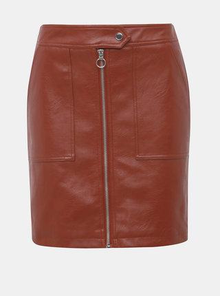 Hnedá koženková sukňa ONLY Abigail