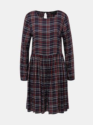 Tmavomodré kockované šaty ONLY Nadia