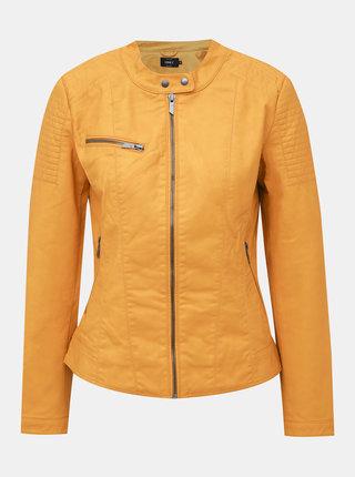 Horčicová koženková bunda ONLY Megan
