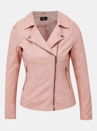 Světle růžový koženkový křivák ONLY Megan