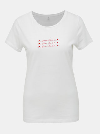 Biele tričko s potlačou ONLY Madelyn