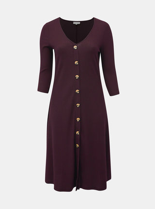 Vínové žebrované midi šaty ONLY CARMAKOMA Kam