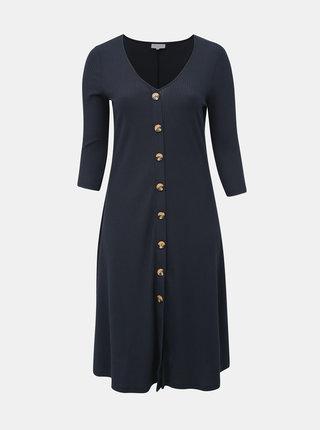 Tmavě modré žebrované midi šaty ONLY CARMAKOMA Kam
