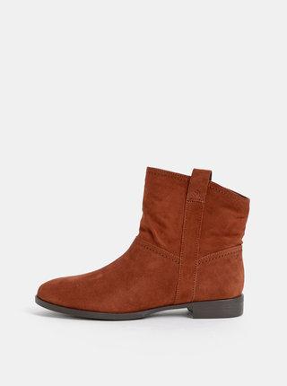Hnedé semišové kotníkové boty Tamaris