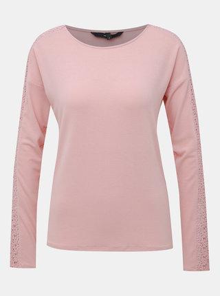 Rúžové tričko s krajkou VERO MODA Celena
