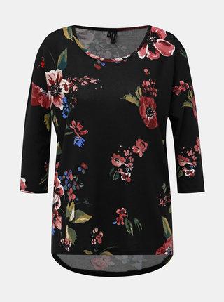 Čierny kvetovaný sveter VERO MODA Malena