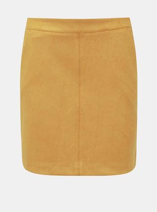 Hořčicová sukně v semišové úpravě VERO MODA Donna Dina