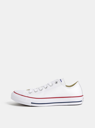 Biele dámske kožené tenisky Converse Chuck Taylor
