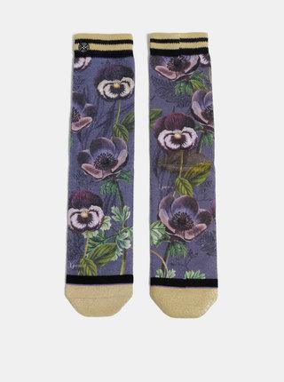 Fialové dámské květované ponožky XPOOOS