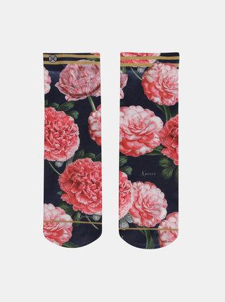 Tmavomodré dámske kvetované ponožky XPOOOS