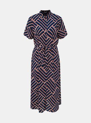 Tmavomodré vzorované košeľové midišaty Jacqueline de Yong Win