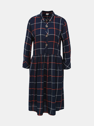 Tmavomodré kockované košeľové šaty Jacqueline de Yong Bella