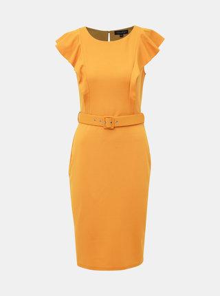 Horčicové šaty Dorothy Perkins