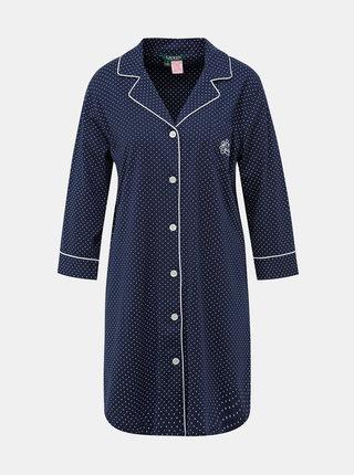 Tmavě modrá dámská puntíkovaná noční košile Lauren Ralph Lauren