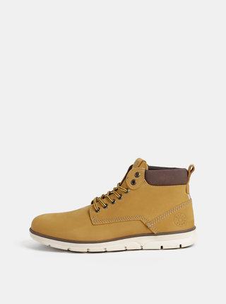 Hnědé pánské kožené kotníkové boty Jack & Jones Tubar