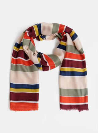 Červeno-růžový dámský pruhovaný šátek Haily´s