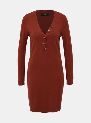 Hnedé svetrové šaty VERO MODA Chip