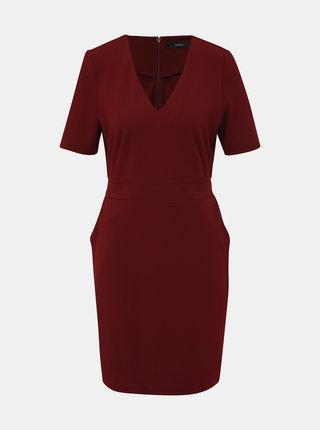 Vínové pouzdrové šaty VERO MODA Corine