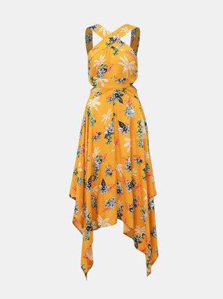 Žlté kvetované šaty s priestrihmi TALLY WEiJL