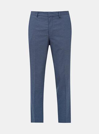 Modré oblekové vzorované slim fit nohavice Selected Homme Logan