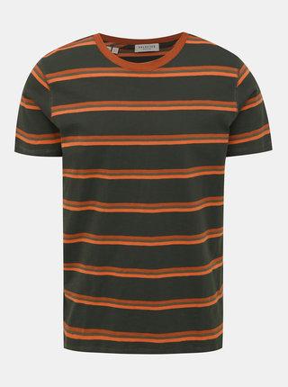 Tmavozelené pruhované tričko Selected Homme Bruno