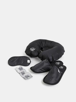 Čierna cestovná sada šlapiek, štupľou do uší, vankúša a masky na spanie Herschel Supply Amenity