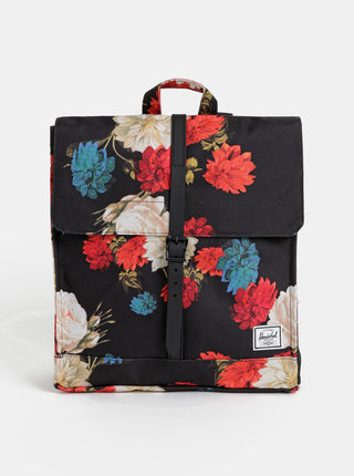 Čierny dámsky kvetovaný batoh Herschel Supply City 14 l