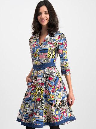 Bielo-modré vzorované šaty Blutsgeschwister Wonder Woman