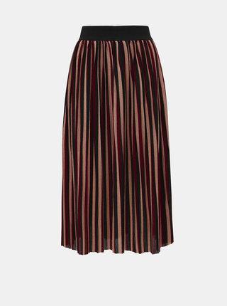 Vínová žebrovaná pruhovaná midi sukně ONLY Way