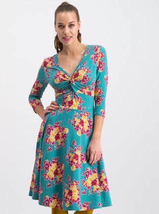 Zelené kvetované šaty Blutsgeschwister Cold Days
