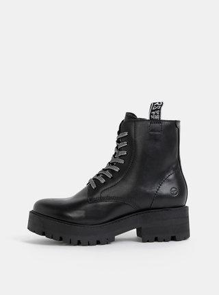 Čierne kožené zimné kotníkové topánky Tamaris