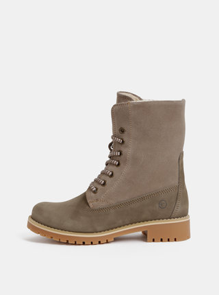 Béžové kožené zimní kotníkové boty Tamaris