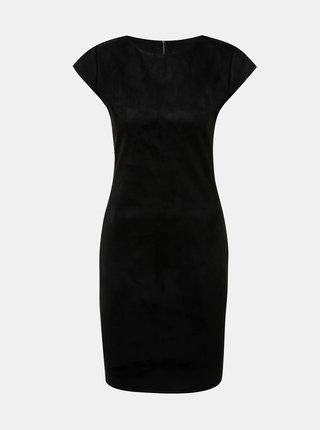 Černé pouzdrové šaty v semišové úpravě Haily´s Serany