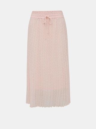 Růžová plisovaná vzorovaná midi sukně Miss Selfridge