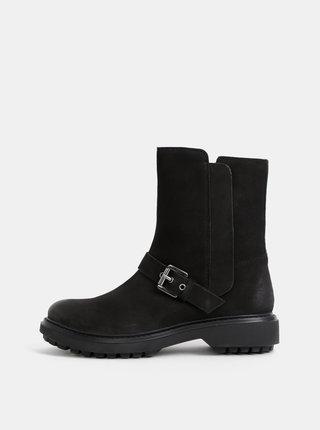 Černé dámské kožené kotníkové boty Geox Sheely