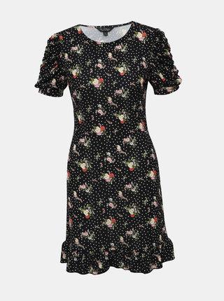 Čierne kvetované šaty Miss Selfridge