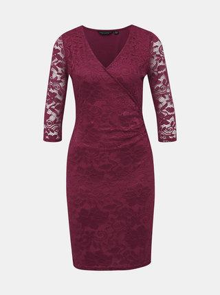 Vínové krajkové pouzdrové šaty Dorothy Perkins