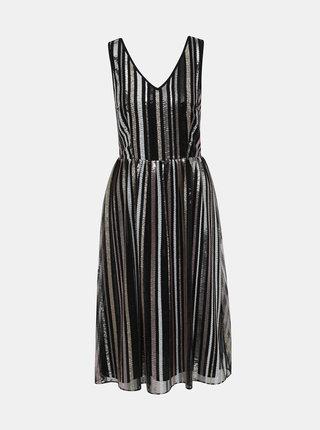 Černé flitrované pruhované šaty Dorothy Perkins