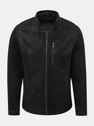 Černá kožená bunda ONLY & SONS Robert